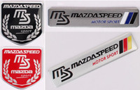 Wholesale ms word - High Quality Aluminum alloy Sticker Car Sport Sticker Label Emblem Badge car styling for MS MAZDASPEED [120x26mm, 50x50mm]