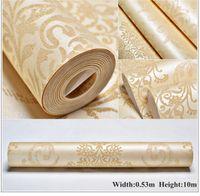 luxus-gold-tapete großhandel-3D wallpaper Europäischen Luxus Blumentapete Wasserdichte Geprägte Gold Tapete Wohnzimmer Tapetenrolle 3D Papel De Parede
