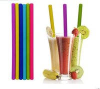 Wholesale Candy Drinks - Silicone Straws Eco Straw Reuseable Straight Suckers for Tumbler Wine Glass Candy Color Suck for Drinking Cocktail Drinkware