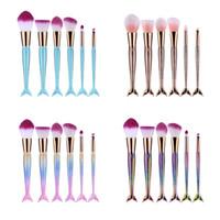 Wholesale Colorful Beauty - Mermaid Makeup Brushes 6PCS SET Makeup Brushes Beauty Rainbow Colorful Cosmetics Brushes Sets Makeup Tool Wholesale 2805111