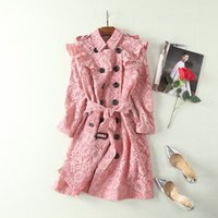 Wholesale Double Breasted Lace Coat - European and American women's wear 2017 The new winter Lapel long sleeve Double-breasted lace Trench coat