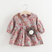 Wholesale Baby Sunflower Dress - Everweekend Girls Floral Ruffles Dress with A Sunflower Bag Vinatge Korea Western Fashion Baby Dress Sweet Children Clothing