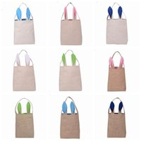 Wholesale Clothe Hand Bags - 10 Colors Christmas Gifts Bunny Ears Tote Bags Large Sack Bag Canvas Cotton Stocking Bag Hand Bag 25.5*30.5*10cm PPA664