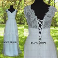 Wholesale Dot Wedding Dress Vintage - Vintage Boho Wedding Dress A Line Floor Length Cap Sleeve Dot Lace Bohemian Beach Bridal Dresses Real Photo New Listing vestido de noiva