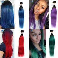 Wholesale Great Remy Hair - Two Tone T 1B Purple Ombre Remy Human Hair Bundles Kiss Hair Weave Great Quality Colored Brazilian Straight Hair Extensions 100g