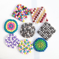 Wholesale Wool Table Mat - Wholesale- 2PCS 10*10cm Candy colored particles Mosaic placemat Handmade Wool Felt Ball Trivet Table Heat Resistant Mat Cup Round Coaster