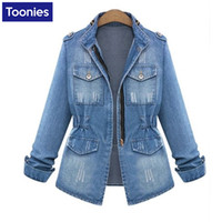 Wholesale Types Coat Designs - Wholesale- Women's Jeans Jackets Europe All-match Vintage Draped Design Ladies Denim Jacket Slim Type Zipper Long Sleeve Female Coat S-5XL