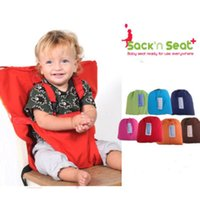 Wholesale Toddler Infant Chairs - Sack'n Seat Portable Travel High Chair Booster Baby Seat Harness Washable Cloth Packable Sack for Infants and Toddlers