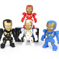 Wholesale Metal Robot Usb - C-89 Iron Man Bluetooth Speaker with LED Flash Light Deformed Arm Figure Robot Portable Mini Wireless Subwoofers TF FM USB Music MP3 Player