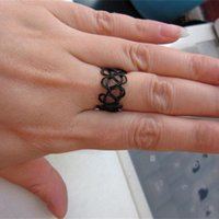 Wholesale- R290 Black Stretch Tattoo Finger Rings Bijoux Fashion Fashion à la main Punk Retro Elastic Gothic Anel Anillos Bijoux 2017