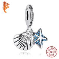 deniz yıldızı 925 bilezik toptan satış-BELAWANG 925 Ayar Gümüş Takılar Denizyıldızı Deniz Kabuğu Dangle Charm Boncuk Pandora Charm Bilezikler Uyar DIY Stil Takı Yapımı