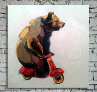 cool painted imágenes al por mayor-Pintado a mano Cool Bear Driving Picture Print Pintura de lona animal de calidad superior para sala de estar o dormitorio sin marco