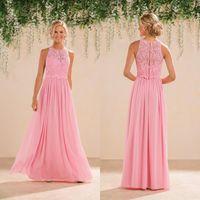 vestidos de damas de honor de color melocotón al por mayor-2017 Modest Peach Pink Lace gasa vestidos de dama de honor largos vestidos de dama de honor más tamaño Beach Garden Wedding Party Dresses