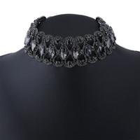 Wholesale Chunky Bridal Jewelry - New Brand Claw Crystal Chokers Statement Necklace Women Black Rhinestone Collier Chunky Necklace Fashion Wedding Jewelry 2017 Bridal Bijoux