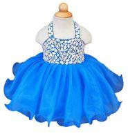 ingrosso cupcakes blu-Real Pretty Halter Royal Blue Tutu Girls Pageant Dresses Tulle Crystals Zipper Back Vestidos De Nina Flower Girl Dresses Cupcake Dress