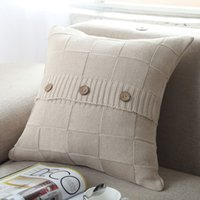 Wholesale Cover Pillows China - 2017 Hot Retro buttons Throw Pillow knitted Cover Cushion Home Decor Personalized Case 18x18inches Made in China