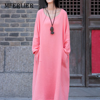 Wholesale womens chinese - Womens Dress Chinese Style Casual Summer Dresses V-Neck Full Sleeves Cotton linen Loose Long Maxi Dress