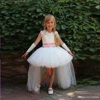 Wholesale Unique Toddler Pageant Dresses - Hot Sale Unique High Low Flower Girl Dresses Beads Appliques Pageant Dresses For Wedding Toddlers Princess Dresses