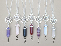 Wholesale Long Chained Gemstone Necklace - Necklaces Pendants Hexagonal Prism Necklaces Gemstone Rock Natural Crystal Quartz Healing Point Chakra Stone Long Charms Chains Necklaces