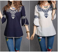 Wholesale White Blouse Blue Patterns - 2017 New Women Cotton 3 4 Sleeve Fashion Ethnic Totem Pattern Embroidered Bordered Ladylike Tops Blouse Shirts Free Shipping