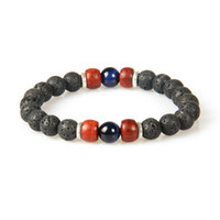 Wholesale Spring Lover Ring - New Designs Summer Chakra Bracelet Wholesale 10pcs lot Lava Stone with Tiger Eye Stone Beads Beaded Lovers Bracelets
