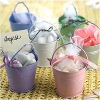 Wholesale Tin Buckets Weddings - Free shipment, Hot Sale! 100PCS Mix Color mini pails wedding favors, mini bucket, candy boxes favors