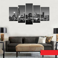 Wholesale Black Artwork Pictures - 5 Picture Canvas Paintings Wall Art Black and White Chicago City Night View Paintings Artwork with Wooden Framed for Home Decoration
