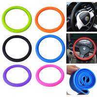 чехлы на рулевое колесо nissan оптовых-7 цветов опционная мягкая раковина крышки рулевого колеса силикона Skidproof Eco содружественное для Мерседес Audi Nissan Peugeot Mazda CIA_100