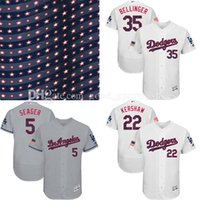 Wholesale Majestic - men's 2017 Stars and Stripes baseball Los Angeles dodgers jerseys clayton kershaw corey seager cody bellinger Majestic Flex Base Jersey