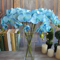 Wholesale Wholesale Blue Orchids - Artifical Moth Butterfly Orchid Flower Phalaenopsis Refined Display Fake Flowers Wedding Room Home Decor 8 colors