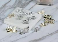Wholesale Earrings Fashion D - Fashion D Letter Earrings Anti-allergy Alloy Zirconia Earring Double C Bow Gem Rhinestone Crystal Ear Stud Jewelry for Women