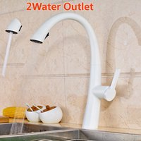 Wholesale Painted Kitchen Sinks - New Hot Sale Pull Out Spout Kitchen Faucet White Painting Kitchen Vessel Sink Mixer Tap Sprayer Swivel Spout Water Taps