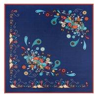 Wholesale Silk Bohemia - fashion 2017 summer 100% silk women's luxury brand designer scarves Bohemia cashew nuts scarves print silk scarf beige blue 100*100cm-G046