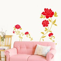 Wholesale Red Roses Bedroom Wall Stickers - Jm7066 60 x 90 DIY red rose PVC green environmental protection can be removed waterproof stickers