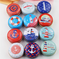 Wholesale Cosmetic Beauty Containers Wholesale - 12Piece Lot Tin Box Beauty Blue Ocean Print Small Round Metal Boxes Good Quality Mac Cosmetics Organizer For Travel Portable Container