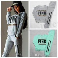 Wholesale Long Sleeve Woven - Women Pink Tracksuit VS Brand Hoodies Sweatshirt Pants Fashion SportWear Tracksuit VS Jogging Sport Suit Cardigan Trousers Costume Sets