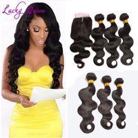 Wholesale Derun Brazilian - Bundles Hair Brazilian Body Wave With Closure Grade 8A Unprocessed Virgin Hair With Closure Vip Derun Hair With Closure