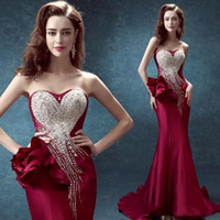 Wholesale Embellished Strapless Sweetheart Gown - 2017 sexy rose-red evening gown with a strapless gown with a long evening gown and floral embellished sexy dress, HY58964