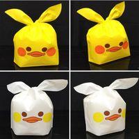 ingrosso spuntini gialli-300PCS New Cartoon Cute Yellow Duck Rabbit Ear Tie Tipo di cibo imballaggio sacchetto biscotti Snack imballaggio