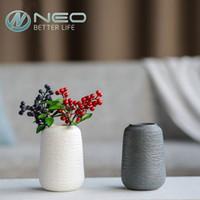 ingrosso vaso di porcellana da regalo-Vaso di fiori artificiali in ceramica Vaso di fiori secchi porcellana moderna Assortimento bianco e grigio