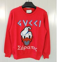 Wholesale New Luxury Brand High quality Spring Lady s Fashion Embroidered Donald Duck Sweatshirt Sweethearts lover Pullover Sweatshirts Tops Hoodie