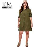 große frauen mode kleidung großhandel-Großhandels-Kissmilk Plus Size New Fashion Damen Kleidung Casual Solid Stickerei Kleid Langarm Big Size Kleid 3XL 4XL 5XL 6XL