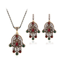 Wholesale evil eye green - african jewelry set Jewelry Sets Crystal Lucky green Evil Eyes Pendant Necklace Earrings Jewelry Jewellery Sets Women maxi drop ship 162016