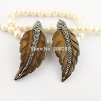Wholesale Copper Brass Jewelry Findings - 6Pcs Shell leaves Pendant, Pave Rhinestone Charms Pendants , Jewelry Finding For Necklace