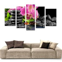 Wholesale large decorative picture - Hot sell 5 piece wall art sets wall painting flower botanical green feng shui orchid decorative pictures for bedroom large canvas art cheap