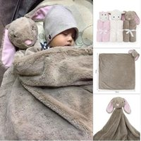 Wholesale Elephant Heads - 76*76cm Coral Fleece Plush Baby Bedding Blanket Rabbit Bear Elephant Animal Toy Head Soft Blanket Newborn Baby Blankets Swaddle Blankets
