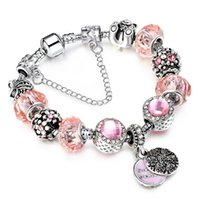 Wholesale Crystal Jewelry Setting Diy - Hot Sell Authentic Tibetan DIY Bracelet Allow Silver Plated Bead With Pink Crystal Sweet Mother Charm Bracelet Women Jewelry AA103