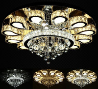 Wholesale luxury light switches - luxury design crystal chandelier lighting modern round LED ceiling fixtures living room lamp fast shipping LLFA