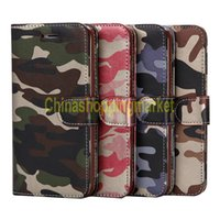 Wholesale holder for iphone 5.iphone case for sale - Camouflage PU Leather Holster Stand Holder Case With Card Slot on the Back phone Bag For iPhone S Plus Samsung S6 S7 edge