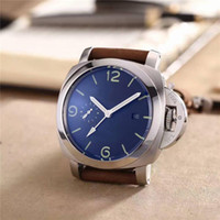 Wholesale blue minerals - New listing Mechanical brand Mens luxury watch High quality men's watch Mechanical movement Mineral glass Leather strap Exclusive silver
